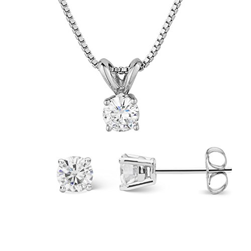 Forever Classic Round Cut 4.5mm Moissanite Earrings and Pendant Necklace Set By Charles & Colvard by Charles & Colvard