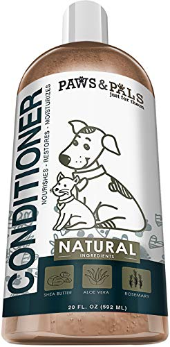 Paws & Pals Natural Pet Conditioner with Shea Butter, Aloe Vera and Rosemary - 20oz Medicated Clinical Vet Formula Wash for All Puppy & Cats