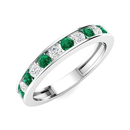 Diamondere Natural and Certified Emerald and Diamond Wedding Ring in 14K White Gold | 0.55 Carat Half Eternity Stackable Band for Women, US Size 6 ()
