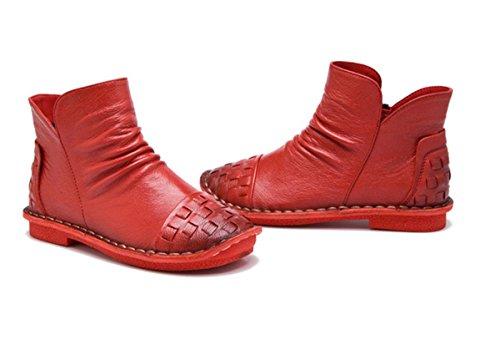4 Piel Redonda De Bombas Caliente Invierno Más Tacón Cortas Zapatos Botas Trabajo 5 Ocio Señoras Mujer uk Cabeza Nuevo Bajo Pisos Cashmere Genuina Otoño 36 3 Eur Red eur35uk3 Antideslizantes Fiesta Nvxie TPCB7wqn