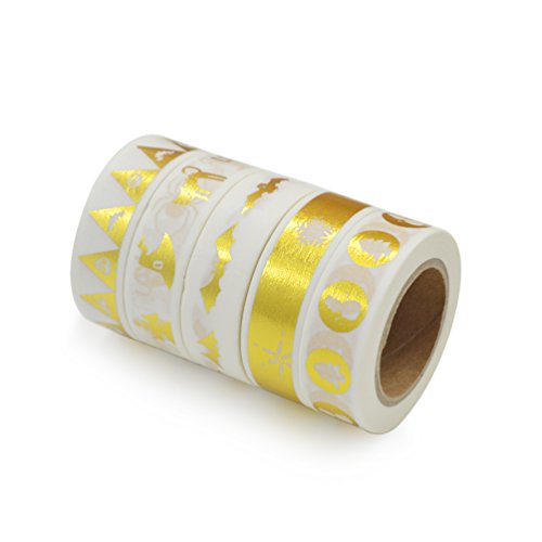 Lychee Craft Metallic Gold Xmas Christmas Japanese Washi Paper Tape Christmas Tree Cat Bat Halloween of 5 Cute Masking Tapes Diy (Halloween Ideas)