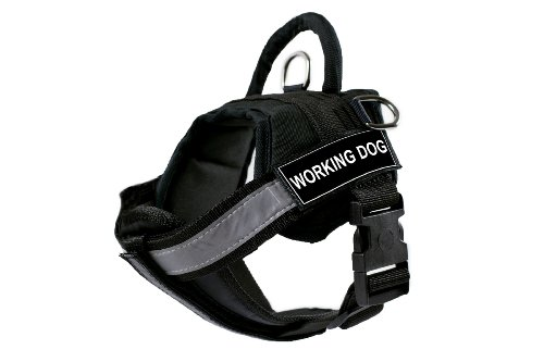 DT Works Harness with Padded Reflective Chest Straps, Working Dog, Black, X-Small, Fits Girth Size: 21-Inch to 26-Inch