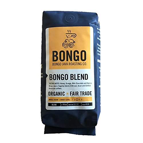 Bongo Java Roasting Co. Bongo Combine, Organic Fair Trade Whole Bean Coffee, Medium Roast