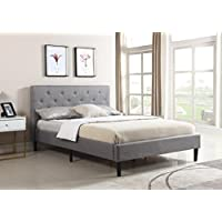 Home Life Premiere Classics Cloth Dark Grey Silver Linen 51 Tall Headboard Platform Bed with Slats King - Complete Bed 5 Year Warranty Included 021