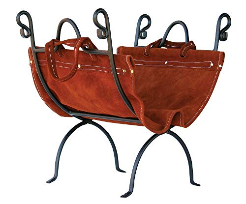- Olde World Iron Log Holder With Suede Leather Carrier