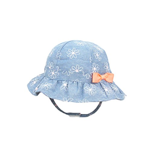 DANMY Girl Brim Sun Protection Hat Toddler Flower Print Cap Infant Hat (1-2 Years (Head Circumference 18.9 inches), Denim Color)