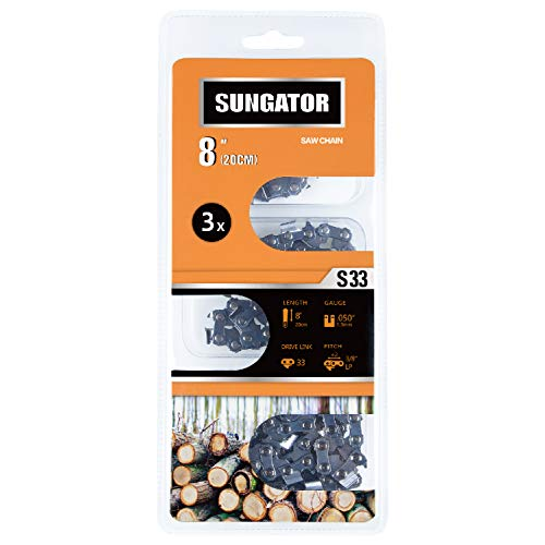 SUNGATOR 3-Pack 8 Inch Chainsaw Chain SG-S33,