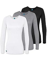 Adar Underscrubs for Women 3 Pack - Long Sleeve Underscrub Comfort Tee