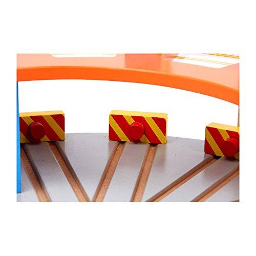 Eisenbahnzubehör mit Drehscheibe und Oberlichtern für geschickte Rangierarbeiten Small Foot Company 2021727 Stellplatz für 5 Lokomotiven Lokschuppen Hauptbahnhof aus bunt lackiertem Holz