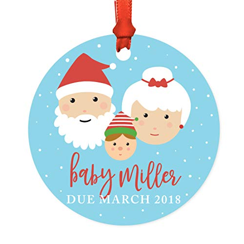 Andaz Press Personalized Baby Metal Christmas Ornament, Baby Miller Due March 2019, Santa and Mrs. Claus with Elf, 1-Pack, Includes Ribbon and Gift Bag, Custom Name -  APP12186