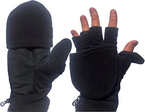 Fingerless Mitten Convertible Winter Gloves - Black Insulation Hand Warmers For Men, Women & Kids Perfect In Cold Weather Activities By Perfect Life Ideas