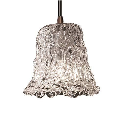 (Justice Design Group GLA-8815-20-LACE-DBRZ Veneto Luce Collection 1-Light pendant, Mini )