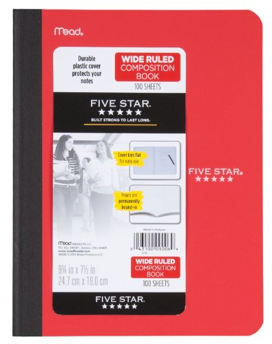Five Star Composition Book, Wide Ruled, 100 Sheets, 9.75 x 7.5 Inch Sheet Size, Assorted - Color May Vary (09006) Photo #5