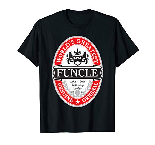World's Greatest Funcle Fun Uncle Label Graphic  T-Shirt