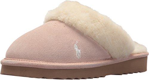 Ralph Lauren Women's Polo Charlotte Gen Suede Scuff Slip On Slipper, Pink, 8 M (Ralph Lauren Suede Leather)