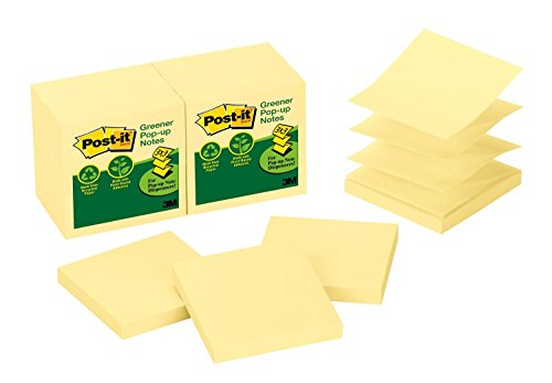 Post-it Pop-up Notes, Canary Yellow, America's #1 Favorite Sticky Note, Accordion-style Sticky Notes for Dispensers, Great for Reminders, 3 in. x 3 in, 12 Pads/Pack, 100 Sheets/Pad (R330RP-12YW)