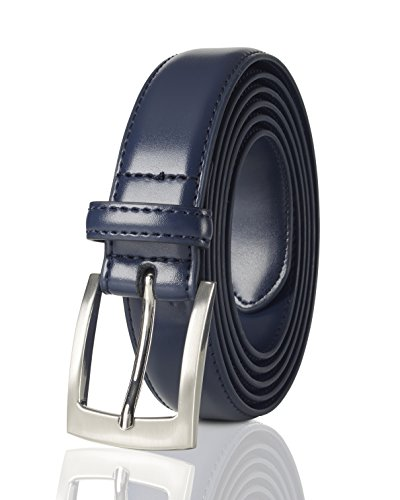 Belts for Men Mens Belt Buckle Genuine Leather Stitched Uniform Dress Belt - Navy (36)