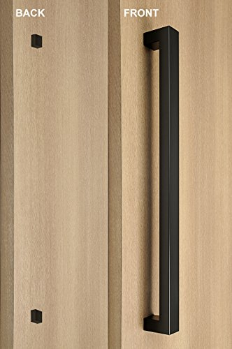 STRONGAR Modern Square/Rectangle One Single Sided Stainless Steel Door Handle for Wood/Glass/Metal Doors/406mm/16 inches - Black Powder -