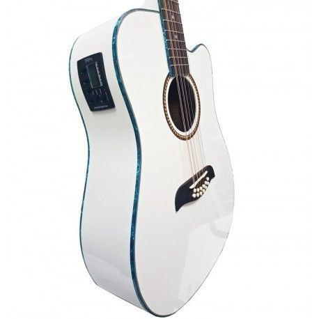 Oscar Schmidt 6 OD312 12-String Acoustic Electric Guitar, White (OD312CEWH-A)