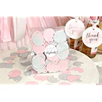 Baby Elephants Set of 100 Pieces Light Pink and Gray Baby Shower Decoration