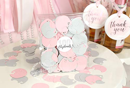 Baby Elephants Set of 100 Pieces Light Pink and Gray Baby Shower Decoration from JacqsCraftyCorner