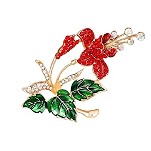 Poinsettia 2″ Flower Brooch-Pin is Embellished with Red & Clear Crystals.Amazing Gardner or Botanist Gift!