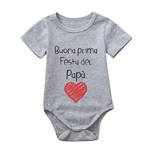 MOGOV Infant Baby Girls Boys Summer Soft and Comfortable Letter Print Tops Bodysuit Romper Sunsuit Clothes Gray