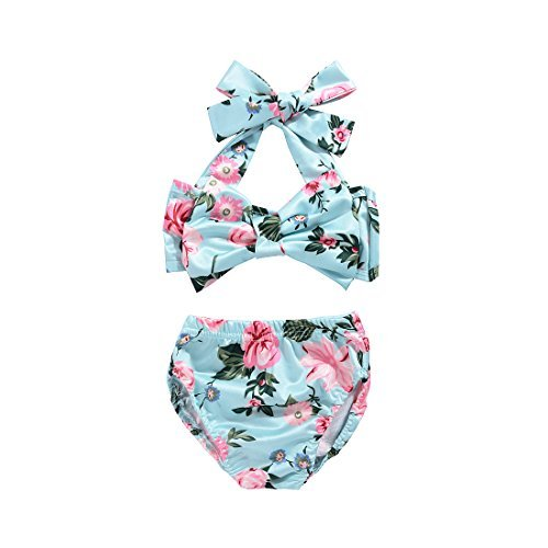 2Pcs Baby Girls Halter Bowknot Tube Top+Floral Short Bottoms Bikini Bathing Suit Swinwear (Floral, 12-18Months) ()