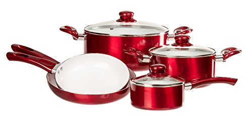 ceramic cookware in red - 1