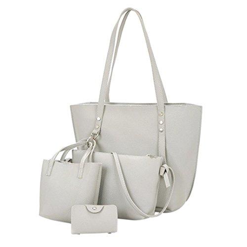 FitfulVan Clearance! Hot sale! 4Pcs Women Pattern Leather Shoulder Bag+Crossbody Bag+Handbag+Wallet (Gray)