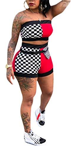 - Women Sexy Plaid Print Tube Crop Top Belt Short Pants Set 2 Piece Outfits Romper Jumpsuits