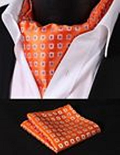 [Mondaily DL202N Orange Check Silk Cravat Scarves Ascot Tie Hanky Handkerchief Set #PPTE4920] (Cats Musical Halloween Costumes)