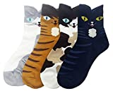 JJMax Women's Sweet Animal Socks Set with Thick Eared Cuffs One Size Fits All , Original Cat Set, One Size