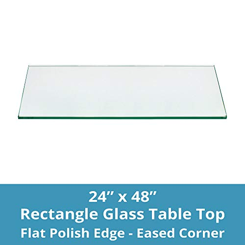 TroySys Tempered Glass Table Top, 1/4″ Thick, Flat Polished Edge, Eased Corners, Rectangle