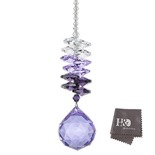 H&D 30mm Purple Chandelier Crystals Ball Rainbow Octogon Chakra Hanging Suncatcher Decorating Balls