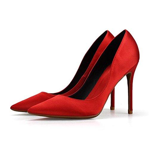Fiesta para Mujer Zapatos Alto Elegante Rojo Zapatos con Tacon nTvwazxqFO