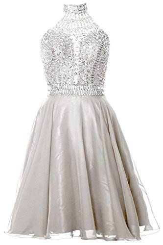 MACloth Gorgeous Halter Prom Homecoming Dress High Neck Cocktail Formal Gown Marfil