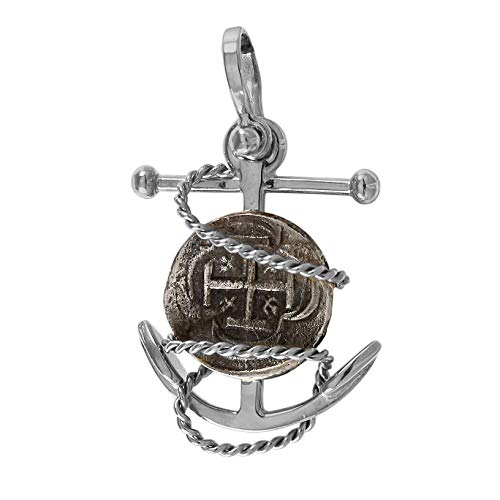 Coins from Genuine 100% Atocha Silver Shipwreck Historical Spanish Replica Coin on Detailed Fouled Anchor Pendant - Anchor Available in 14kt Gold or 925 Sterling - Includes Certificate of Authenticity ()