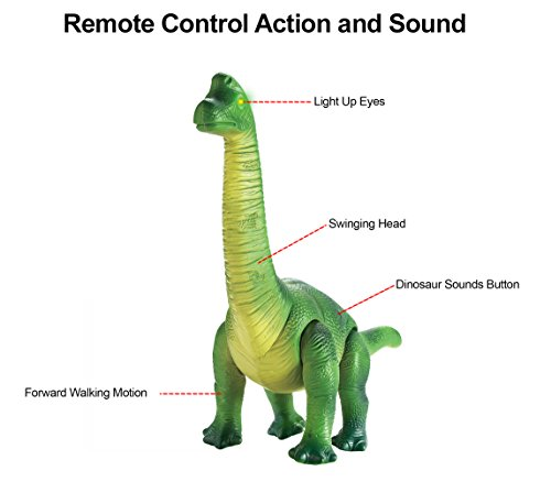Liberty Imports Dino Planet Remote Control R/C Walking Dinosaur Toy with Shaking Head, Light Up Eyes and Sounds (Brachiosaurus) by Liberty Imports (Image #1)
