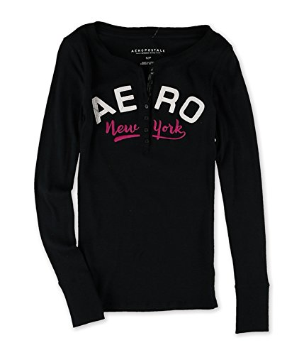 Aeropostale Womens Curved NY Henley Shirt 001 S from AEROPOSTALE