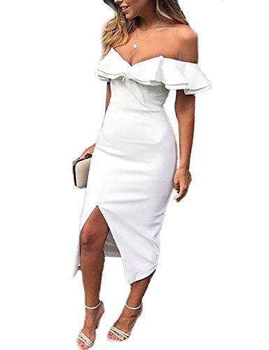 VintageRose Women V Neck Off Shoulder Ruffled Split Bodycon Dress White M