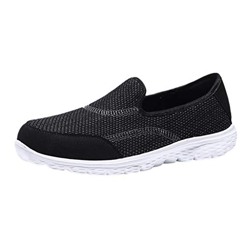 Womens Classic Round Toe Sneaker Breathable Comfortable Fashion Flats Sport Running Shoes Slip-On Working Single Shoes Black