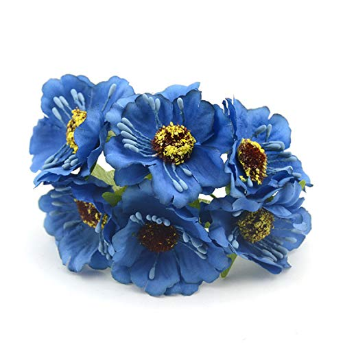 6Pcs/Lot 4Cm Real Touch Mini Silk + Tamen Artificial Poppy Bouquet/Wedding Favor Box Rose Flowers for DIY Scrapbooking Flower Royal Blue