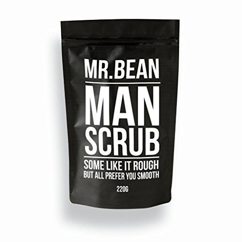 Mr. Bean Organic All Natural Coffee Bean Exfoliating Body Skin Scrub with Coconut Oil, Vitamin E, and Sea Salt - Man -