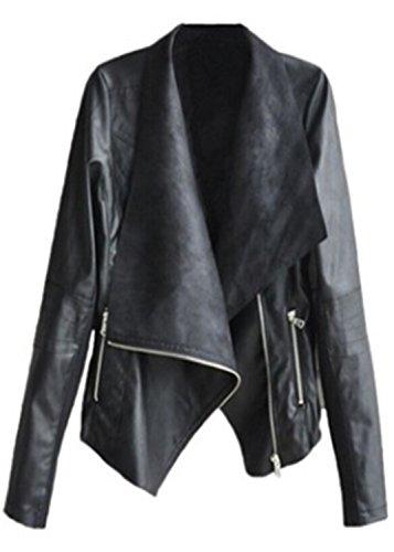 Faux Leather Asymmetric Asymmetrical Zip Zips Closure Large Notch Lapel Collar Moto Biker Motorcycle Motorbike Jacket Top Black (Notch Collar Leather)