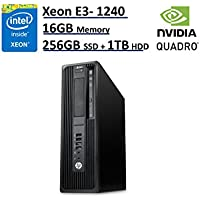 HP Z240 Business WorkStation SFF Desktop PC - Intel Xeon E3-1240 v5, 256GB NVMe SSD + 1TB HDD, 16GB DDR4 ECC, NVIDIA Quadro K620, DVD+RW, Windows 10 Pro (Certified Refurbished)