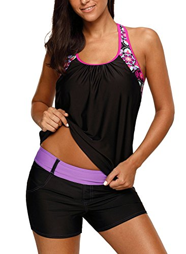 Dearlove Women's Blouson Floral T-Back Push Up Tankini Top Halter Padded Slimming Swimsuit Sporty Swimwear Black Plus Size XL 14 16