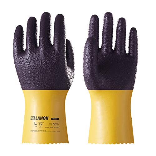 LANON Protection U200 Heavy Duty PVC Safety Gloves, Reusable Oil Resistant Work Gloves, Ultra Grip, Anti Abrasion, Extra Large, CE Listed, CAT - Protection Gloves Duty Heavy