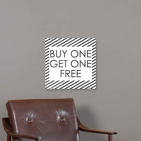 Buy One Get One Free Stripes White Premium Brushed Aluminum Sign 16x16 CGSignLab 5-Pack