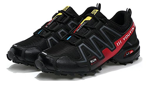 Herren Trail Running Schuhe Leistung im Freien Schnürschuhe Trail Runner von JiYe Schwarz Rot